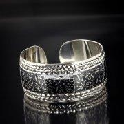 Серебряный кубачинский браслет с алмазной гранью арт.5363