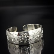 Серебряный кубачинский браслет белый арт.5364