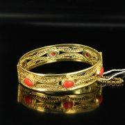 Серебряный кубачинский браслет с эмалью арт.5510