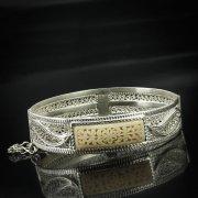 Кубачинский серебряный браслет с филигранью (вставка из слоновой кости) арт.5606