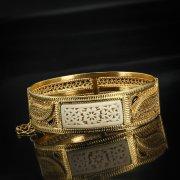 Кубачинский серебряный браслет с филигранью (эмаль, вставка из слоновой кости) арт.5617