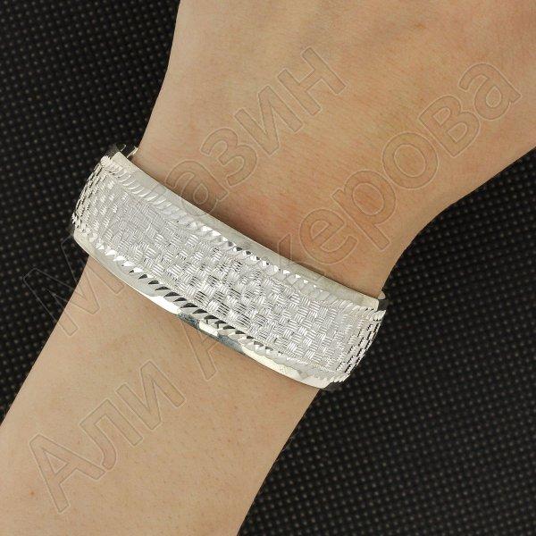 Серебряный кубачинский браслет с гравировкой арт.5774