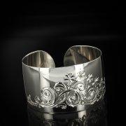 Серебряный кубачинский браслет с гравировкой арт.5795