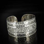 Серебряный кубачинский браслет с гравировкой арт.5797