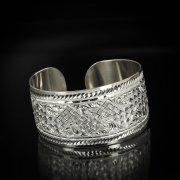 Серебряный кубачинский браслет белый арт.5802