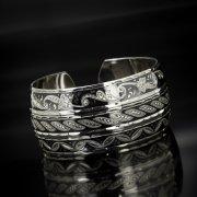 Серебряный кубачинский браслет широкий арт.6237