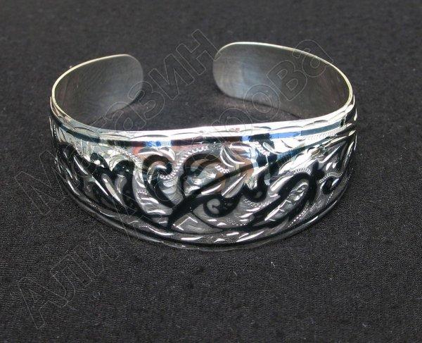 Серебряный кубачинский браслет с чернением арт.542