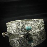 Кубачинский серебряный браслет с филигранью (камень - бирюза) арт.5611