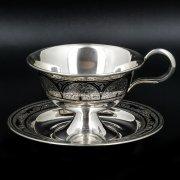 Серебряная чашка с блюдцем Кубачи ручной работы арт.8683