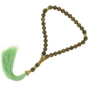 Четки Яшма унакит ручная работа (натуральный камень, 33 бусины) арт.7545