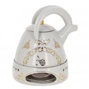 """Фарфоровый чайник на подставке """"Тур"""" ручной работы арт.8949"""
