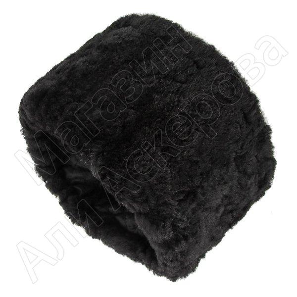 Казачья кубанка черная (овчина, ручная выделка, высота 15 см, размерная утяжка) арт.4999