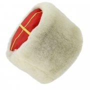 Казачья кубанка белая (овчина, ручная выделка, высота 15 см, размерная утяжка) арт.5003