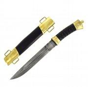 Нож пластунский дамасская сталь (латунь, в наборе - подвес и чехол) арт.4464