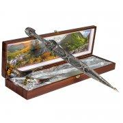 Кубачинский подарочный набор в футляре (кинжал и 2 бычьих рога) арт.6835