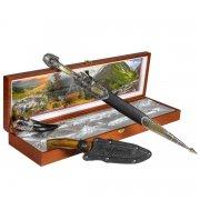 Кубачинский подарочный набор в футляре (кинжал с серебряными вставками, нож, рог) арт.6838