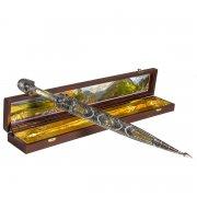 Кубачинский подарочный набор в футляре (кинжал с серебряными вставками) арт.6840