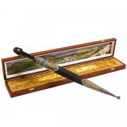 Кавказский кинжал с цельной рукоятью (дамасская сталь, родовое клеймо) арт.7807