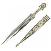 Кубачинский серебряный кинжал (сталь - 65Х13, родовое клеймо) арт.9365