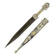 Кубачинский серебряный кинжал (слоновая кость, дамасская сталь, родовое клеймо) арт.9367