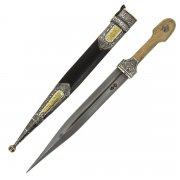 Кавказский кинжал с цельной рукоятью (кованая сталь, родовое клеймо, рукоять - дерево) арт.4990