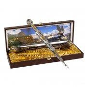 Кубачинский подарочный набор в футляре (кинжал с серебряными вставками и 2 бычьих рога) арт.6004