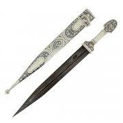 Кубачинский серебряный кинжал в футляре (слоновая кость, сталь - дамасская, родовое клеймо) арт.6116