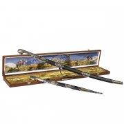 Кубачинский подарочный набор в футляре (шашка и кинжал с серебряными вставками) арт.6164