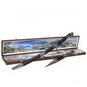 Кубачинский подарочный набор в футляре (утопленная шашка и кинжал с серебряными вставками) арт.6165