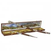 Кубачинский подарочный набор в футляре (шашка и кинжал с серебряными вставками) арт.6166