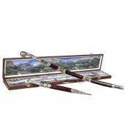 Кубачинский подарочный набор в футляре (шашка и кинжал с серебряными вставками) арт.6167