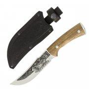 """Кизлярский нож туристический """"Рыбак-2"""" (сталь - AUS-8, рукоять - дерево, худож. оформ.) арт.4855"""
