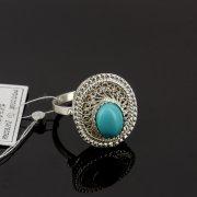 Кубачинское серебряное кольцо с филигранью (камень - бирюза) ручной работы арт.8131