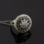 Кубачинское серебряное кольцо с филигранью (камень - бирюза) ручной работы арт.8132