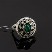 Кубачинское серебряное кольцо с филигранью ручной работы (камень - хризопраз) арт.8142