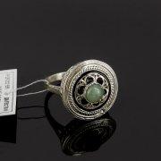 Кубачинское серебряное кольцо с филигранью ручной работы (камень - хризопраз) арт.8143
