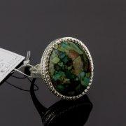 Кубачинское серебряное кольцо с филигранью ручной работы (камень - прессованная бирюза) арт.8146