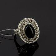 Кубачинское серебряное кольцо с филигранью ручной работы (камень - агат) арт.8147