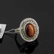 Кубачинское серебряное кольцо с филигранью ручной работы (камень - агат) арт.8149
