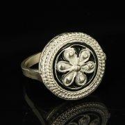 Кубачинское серебряное кольцо с филигранью ручной работы арт.9411