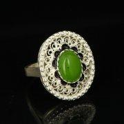 Кубачинское серебряное кольцо с филигранью ручной работы (камень - кошачий глаз) арт.9412
