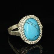 Кубачинское серебряное кольцо с филигранью ручной работы (камень - бирюза) арт.9421