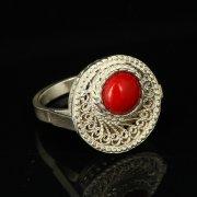 Кубачинское серебряное кольцо с филигранью ручной работы (камень - яшма) арт.9423