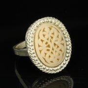 Кубачинское серебряное кольцо с филигранью ручной работы арт.9427