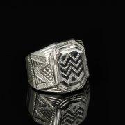 Кубачинское серебряное кольцо-печатка с чернением ручной работы арт.8611