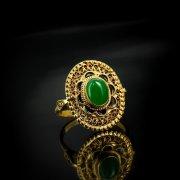 Кубачинское серебряное кольцо ручной работы с филигранью (камень - авантюрин) арт.5618