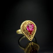Кубачинское серебряное кольцо ручной работы с филигранью (камень - корунд) арт.5619