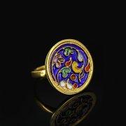 Кубачинское серебряное кольцо с эмалью ручной работы арт.8702