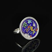 Кубачинское серебряное кольцо с эмалью ручной работы арт.8703
