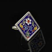 Кубачинское серебряное кольцо с эмалью ручной работы арт.8704